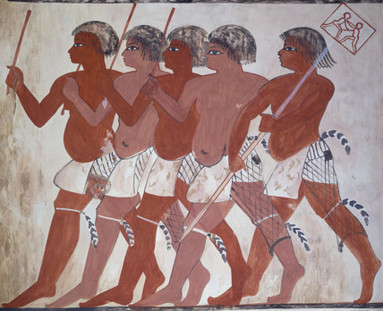Copy of painting from private tomb 74 of Thenuny, Thebes (I, 1, 144-146) soldiers with standard