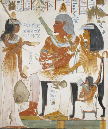 Copy of wall painting, private tomb 181 of Nebamun and Ipuky, Thebes, deceased, mother and daughter offered wine by lady