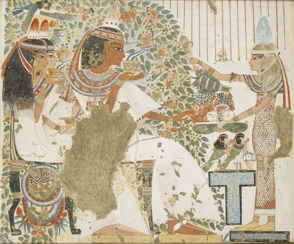 Copy of wall painting, private tomb 51 of Userhet, Thebes, deceased with wife and mother under tree