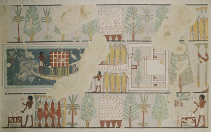 Copy of wall painting from a private tomb 87 of Minnakht, (I, 1, 178-179), Thebes, funerary rites in garden
