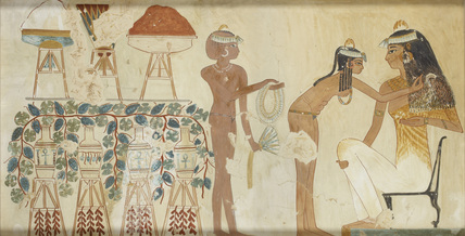 Copy of wall painting from private tomb 38 of Djeserkeresonb, Thebes (I, 1, 69-70) woman performing toilet