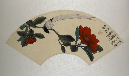 Fan painting with bird and camellia