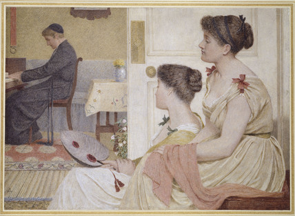 Drawing Room Scene with a young Priest at the Piano