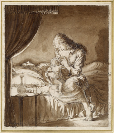 Night Scene - Woman feeding her Child