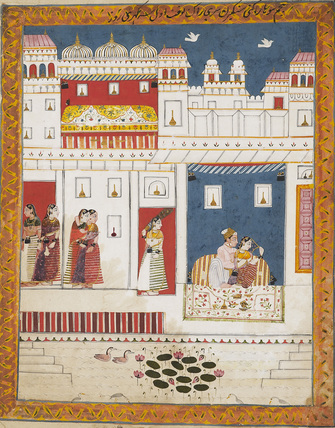 Lovers in palace scene