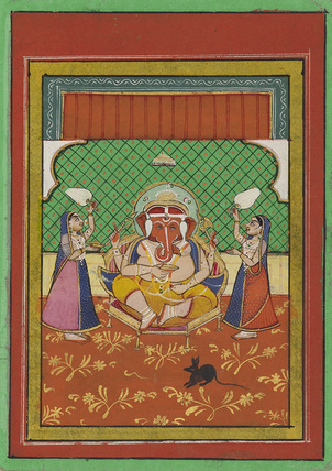 Seated Ganesa with attendants