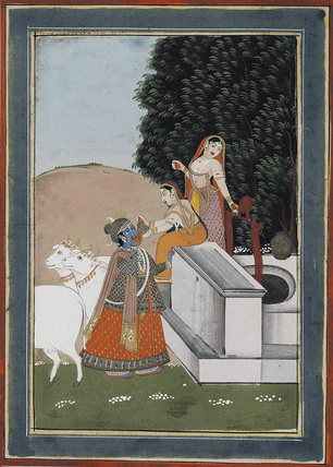 Women giving drink to Krsna at well