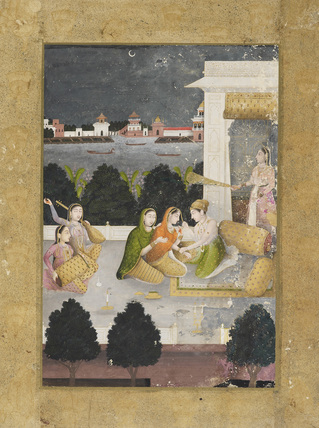 Prince with women and musicians