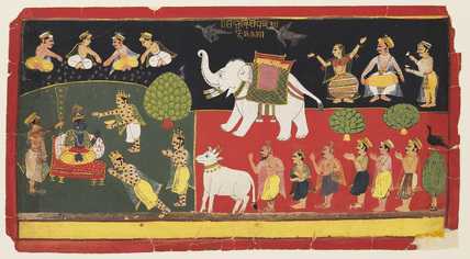 Krsna revered by Indra arriving on a white elephant