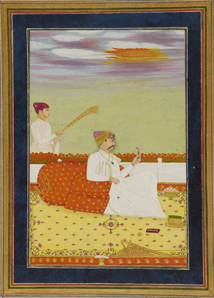 Prince seated on terrace with attendant