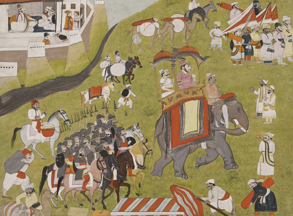 Procession of a Raja on elephant with armed escort and retainers