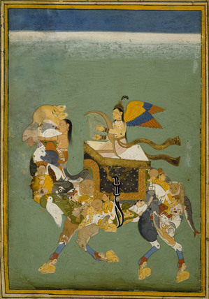 A peri with yellow, blue and orange wings plays a harp and rides a camel composed of men, women and diverse animals