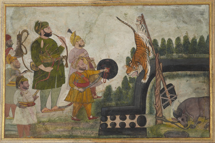 Rawat Gokul Das of Deogarh and companions with a snared tiger
