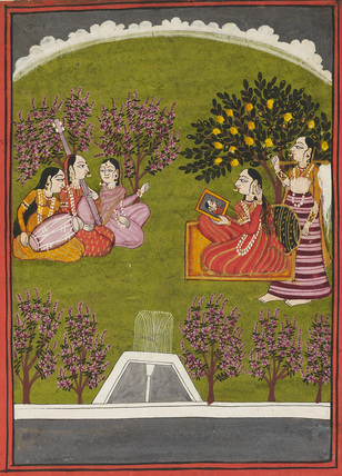Lady seated with mirror in a garden, with maid and 3 musicians