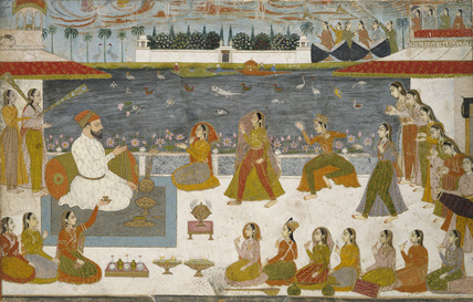 Nawab and Ladies Watching a Nautch on a Terrace