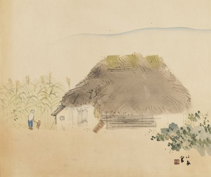 Woman and child outside thatched house