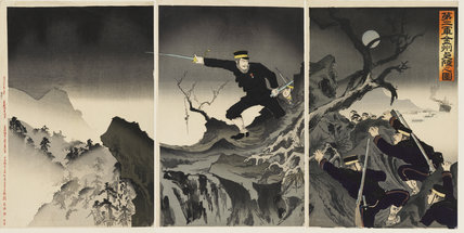 Triptych - Soldiers clambering over rocks in moonlight