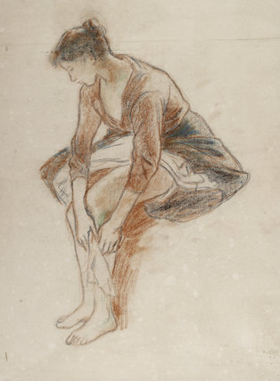 Study of a young woman bathing her legs