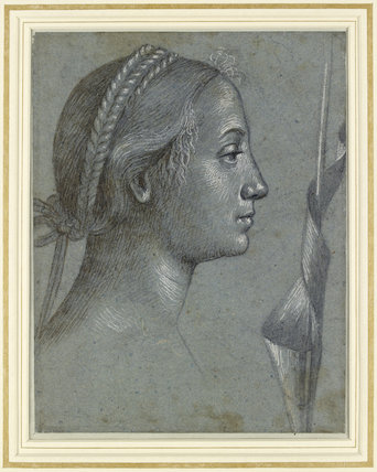 Recto: Head of a Woman with a Pennant wound round a Pole. Verso: Head of a Woman