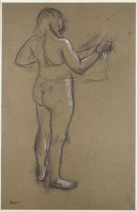 Nude Woman drying herself with a Towel, seen from behind