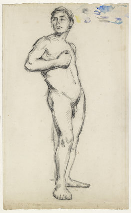 Academic Study of a male Nude with his right Hand clenched across his Chest