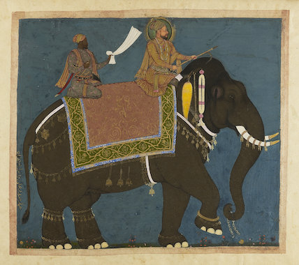 Sultan Muhammad Adil Shah and Ikhlas Khan riding an Elephant, c. 1645