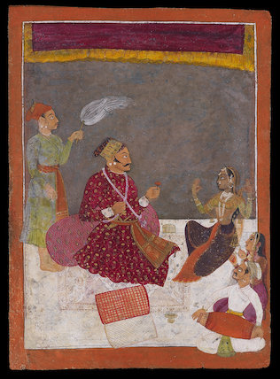 Maharaja Dhiraj Singh watches a nautch
