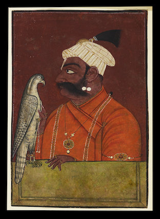 Maharaja Suraj Mal with a hawk