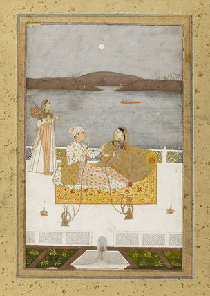 Lovers on a terrace at night