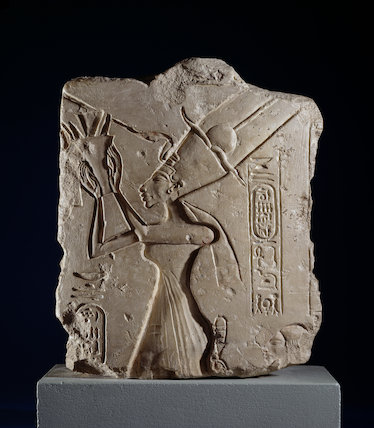 Limestone fragment depicting Queen Nefertiti