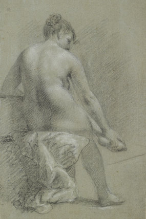 A nude woman seen from behind