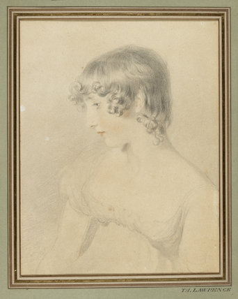 Bust portrait of Susan Bloxam, turned in profile to left