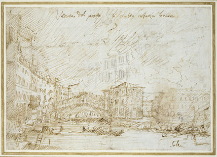 Recto: Venice: The Ponte di Rialto  Verso: Various Figure Studies