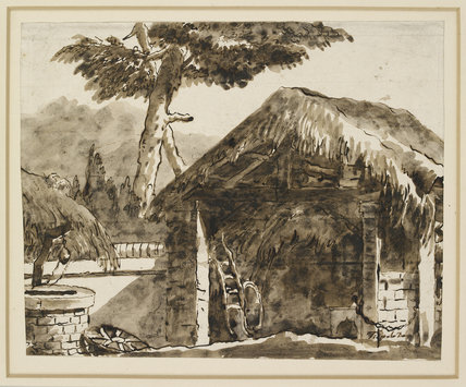Shed with a thatched Roof