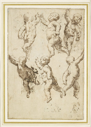 Recto: studies of Putti; verso: eight compositional sketches which include an Adoration, a Crucifixion, and three of  Madonna and Child