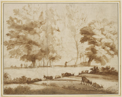 Landscape with Trees, Figures and Goats