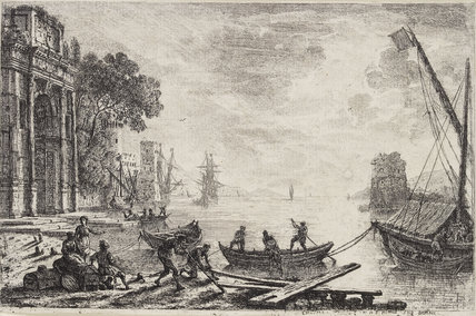 Harbour Scene with Rising Sun