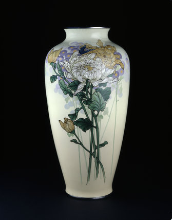 Baluster vase with chrysanthemums and a butterfly