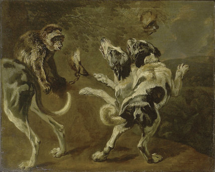 Pieter Boel Jan Fyt, formerly attributed to Study of Dogs and a Monkey on the Edge of a Wood
