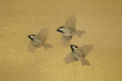 One of Japanese two fold painted and embroidered screens depicting a group of sparrows (detail)