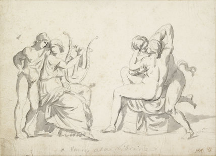 Youth standing by a woman playing a lyre and a separate study of an embracing couple (after the Antique)