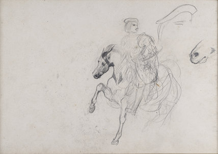 Recto: A Horseman wearing a Cuirass...