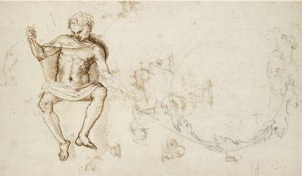 Recto: A nude Man seated, and other Studies