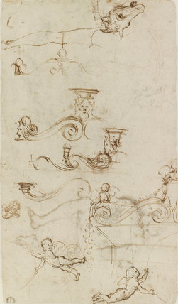 Verso: Five separate Studies for an Ornamental Pediment