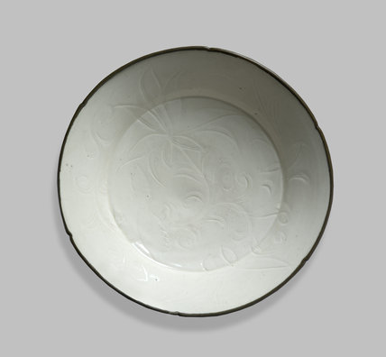 White ware dish with lotus decoration