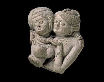 Plaque fragment with pair of lovers, or mithuna