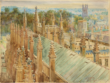 Looking down on the Roof of New College Hall  1909