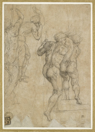 Two Soldiers seen from behind in variant Poses (studies for the Roman soldiers at lower left in the Crucifixion of Saint Peter)