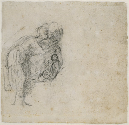 Verso: Study of a woman and child
