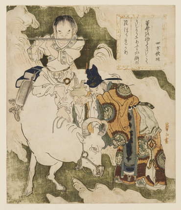 A Chinese emperor offers incense to an ox-herding boy